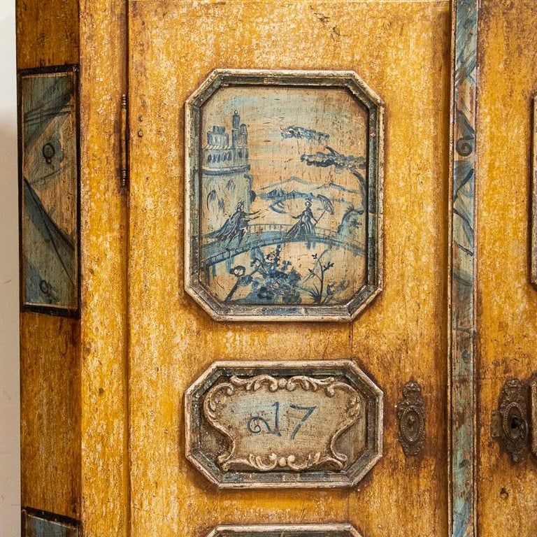 Exceptional Antique Original Painted Armoire with Blue Figures, Germany Dated 17 For Sale 9