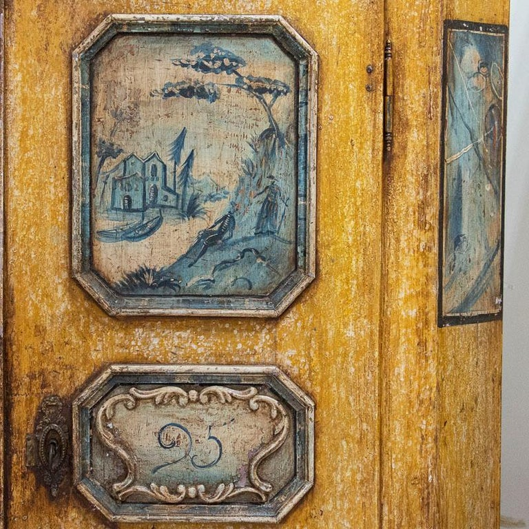 Exceptional Antique Original Painted Armoire with Blue Figures, Germany Dated 17 For Sale 10