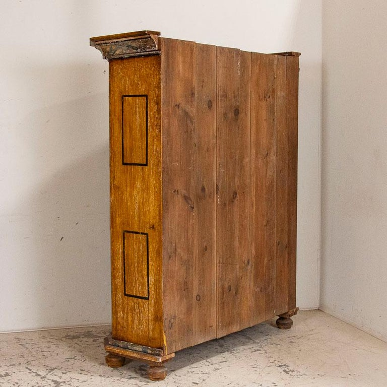 18th Century Exceptional Antique Original Painted Armoire with Blue Figures, Germany Dated 17 For Sale