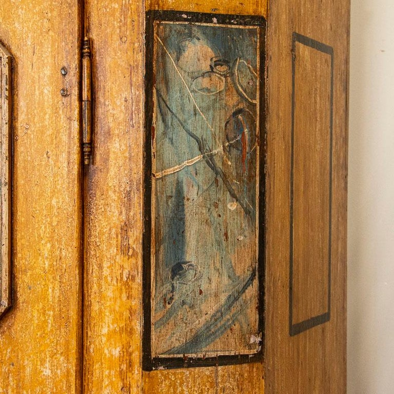 Exceptional Antique Original Painted Armoire with Blue Figures, Germany Dated 17 For Sale 1