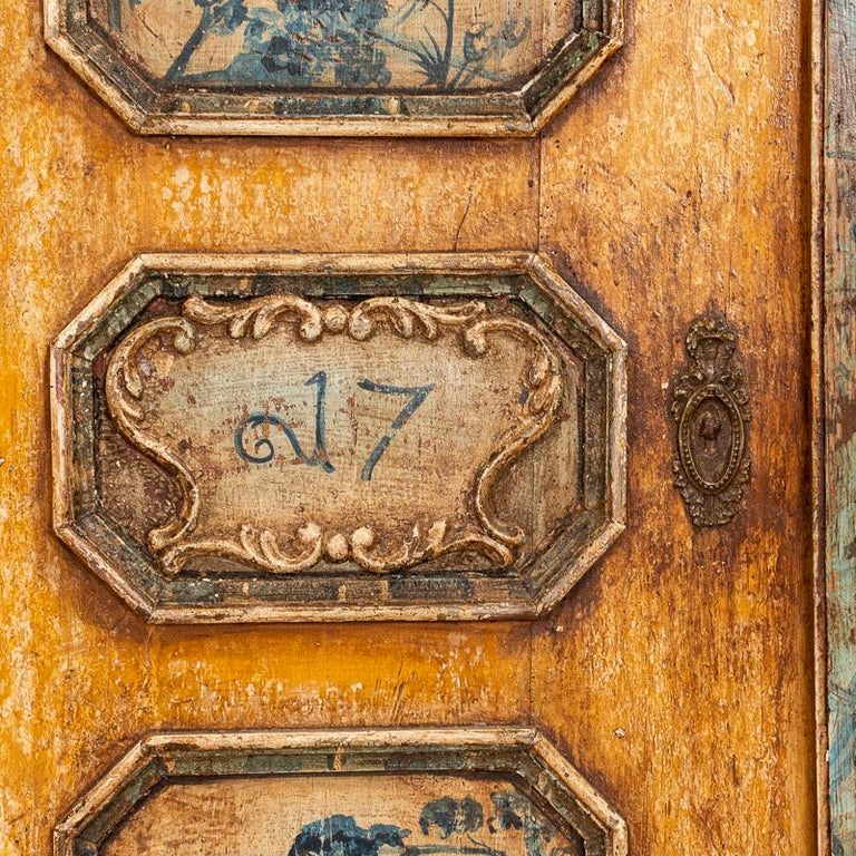 Exceptional Antique Original Painted Armoire with Blue Figures, Germany Dated 17 For Sale 2