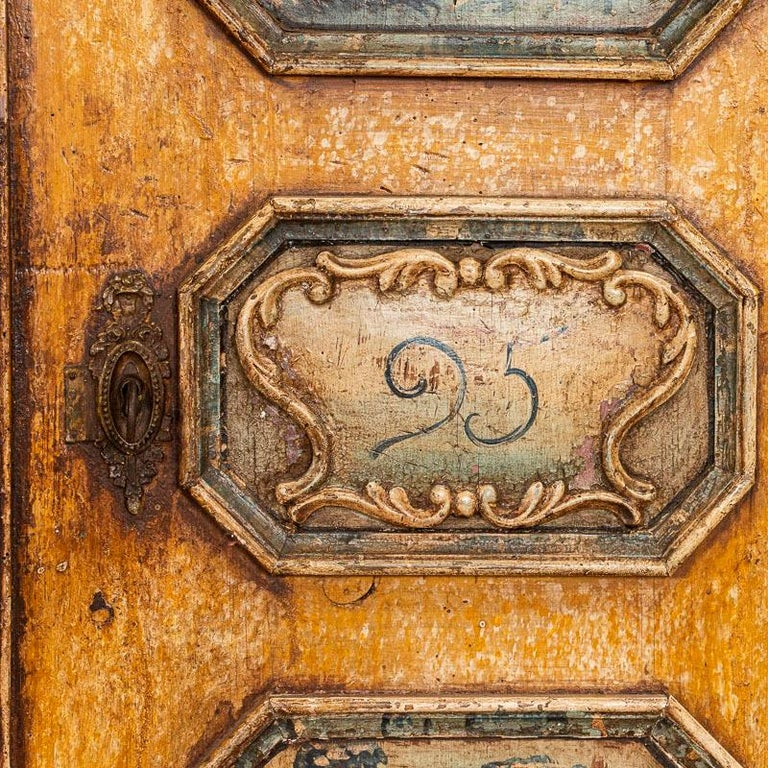Exceptional Antique Original Painted Armoire with Blue Figures, Germany Dated 17 For Sale 3