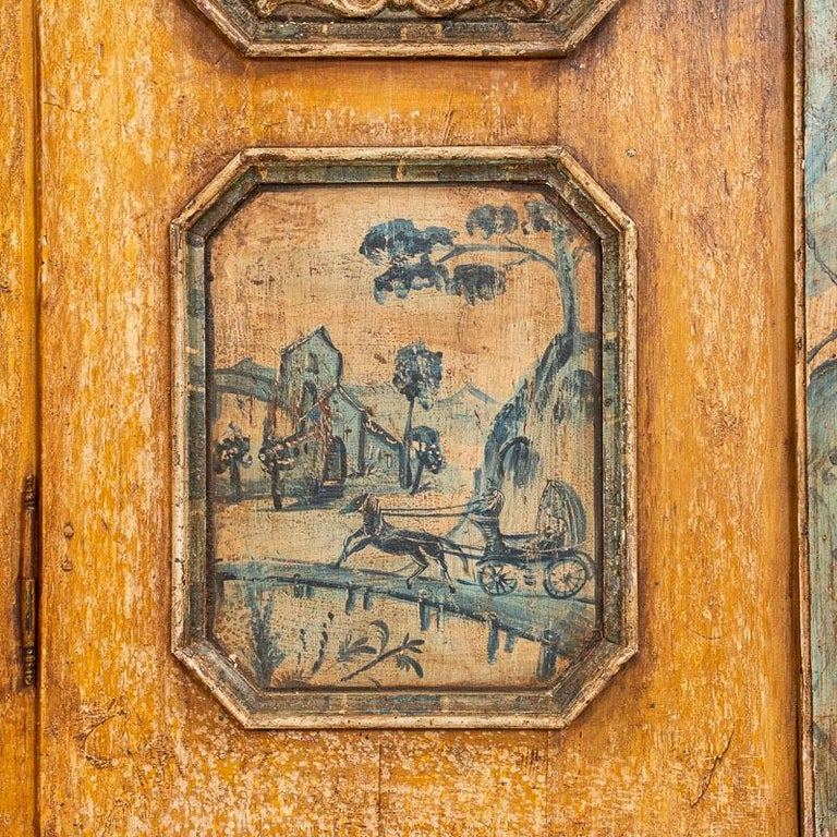 Exceptional Antique Original Painted Armoire with Blue Figures, Germany Dated 17 For Sale 4