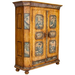 Exceptional Antique Original Painted Armoire with Blue Figures, Germany Dated 17