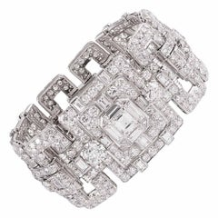 Exceptional Art Deco 53.09 Carat Diamond Bracelet
