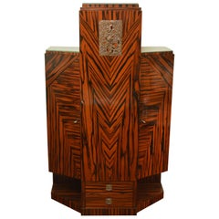 Exceptional Art Deco Cabinet in Macassar by Joseph De Coene, 1928