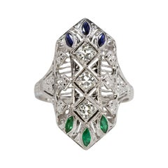 Exceptional Art Deco Diamond Green Emerald Blue Sapphire Cocktail Ring