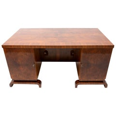 Exceptional Art Deco Double-Sided Desk in Walnut, 1930s, Bohemia