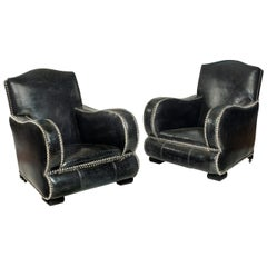Exceptional Art Deco Study Leather Chairs