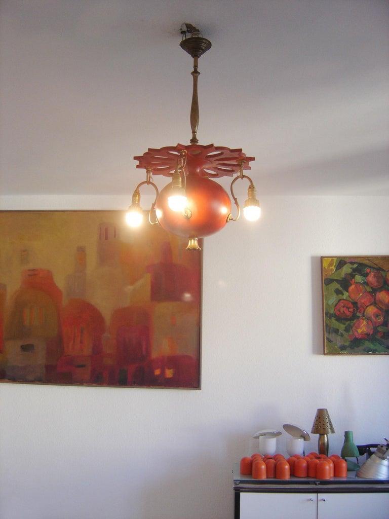Exceptional Art Nouveau Chandelier or Pendant Lamp 'Granate Apple', 1900 Germany For Sale 4