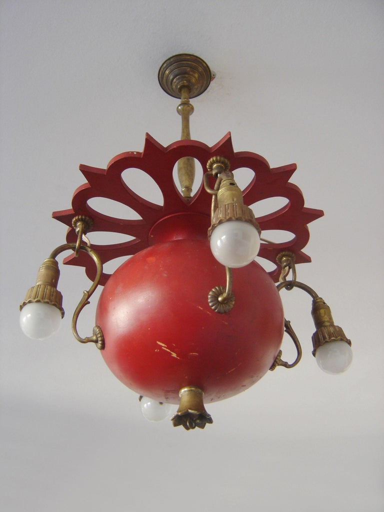 Lacquered Exceptional Art Nouveau Chandelier or Pendant Lamp 'Granate Apple', 1900 Germany For Sale