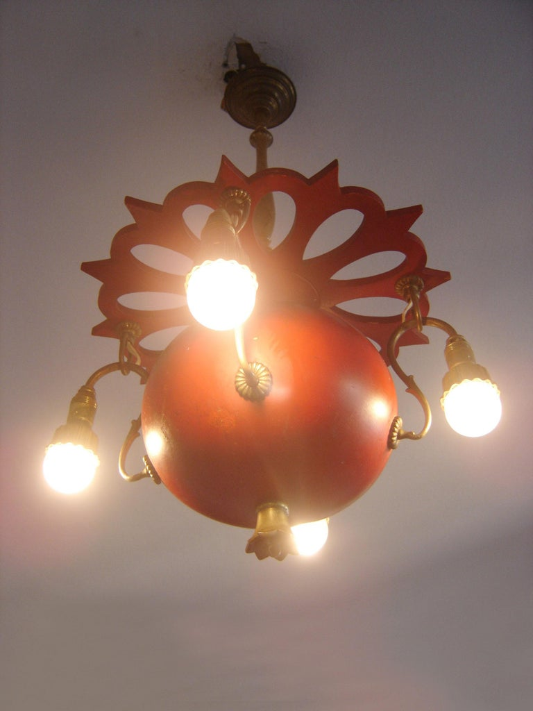 Exceptional Art Nouveau Chandelier or Pendant Lamp 'Granate Apple', 1900 Germany In Good Condition For Sale In Munich, DE