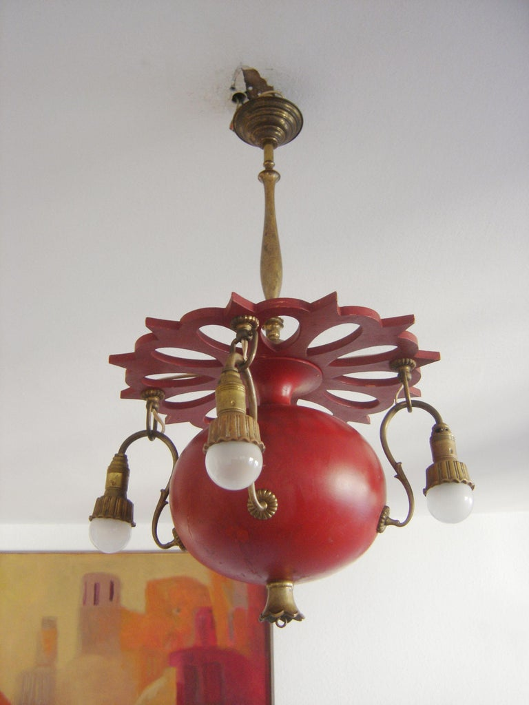 Early 20th Century Exceptional Art Nouveau Chandelier or Pendant Lamp 'Granate Apple', 1900 Germany For Sale