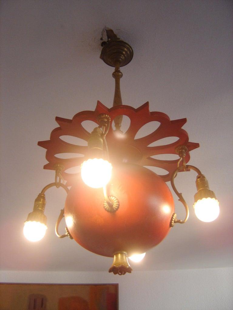 Brass Exceptional Art Nouveau Chandelier or Pendant Lamp 'Granate Apple', 1900 Germany For Sale