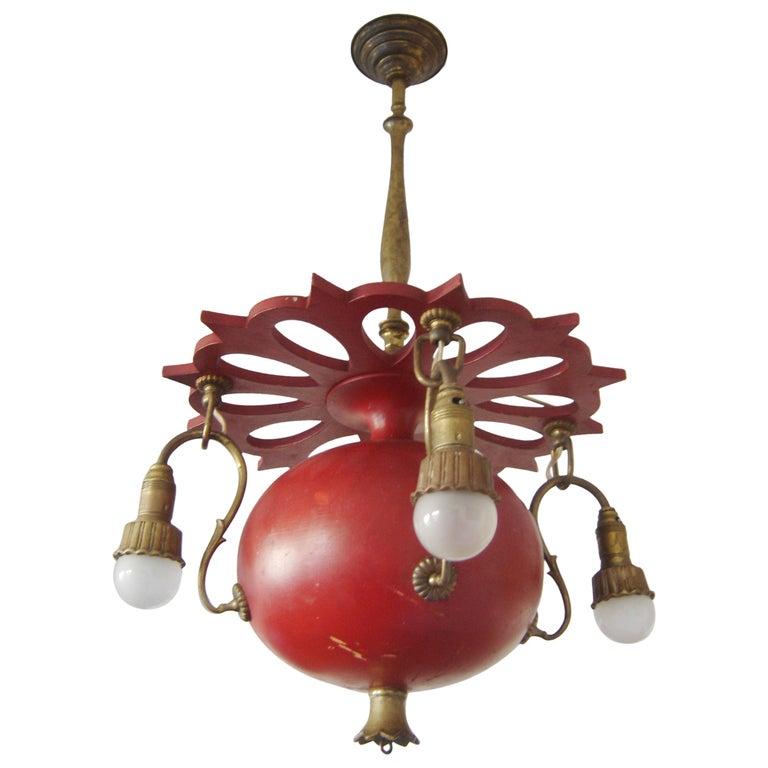 Exceptional Art Nouveau Chandelier or Pendant Lamp 'Granate Apple', 1900 Germany For Sale