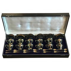 Exceptional Art Nouveau Demitasse Coffee Set, English Sterling Robert & Belk Ltd