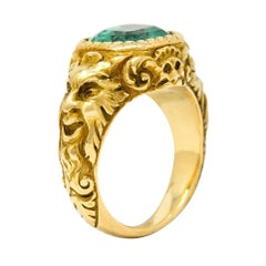 Exceptional Art Nouveau Emerald 18 Karat Gold Green Man Signet Ring