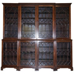 Exceptional Astral Glazed Breakfront Library Bookcase Prince of Wales Feathers
