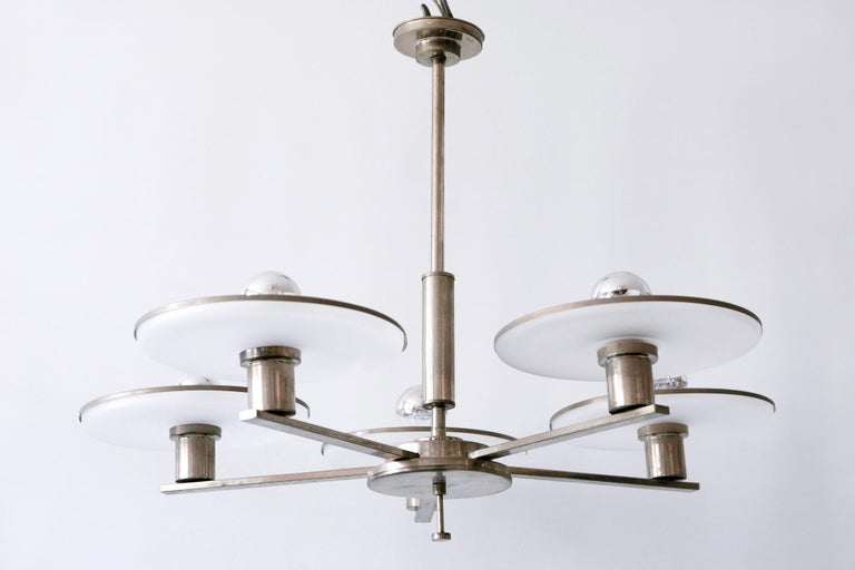 Exceptional Bauhaus / Art Deco Chandelier or Pendant Lamp, 1930s, Germany For Sale 5
