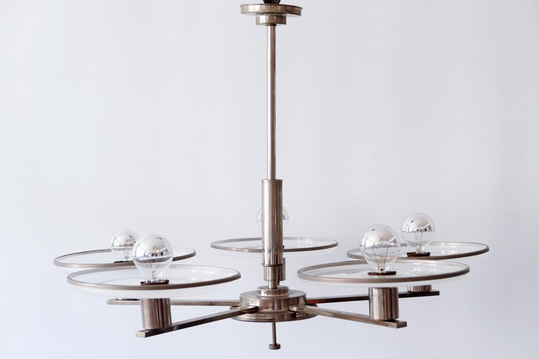 Exceptional Bauhaus / Art Deco Chandelier or Pendant Lamp, 1930s, Germany In Good Condition For Sale In Munich, DE