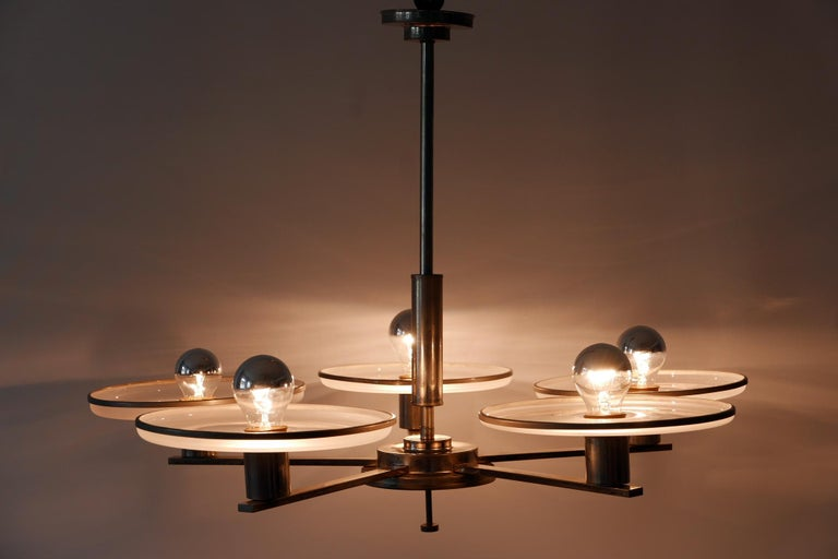 Brass Exceptional Bauhaus / Art Deco Chandelier or Pendant Lamp, 1930s, Germany For Sale