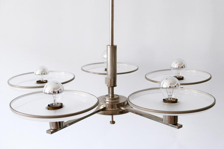Exceptional Bauhaus / Art Deco Chandelier or Pendant Lamp, 1930s, Germany For Sale 2