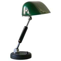 Exceptional Bauhaus Bankers Table Lamp with Original Green Glass, 1930s, Germany