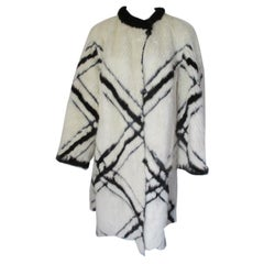 Exceptional Black and White Flared Mink Fur Coat
