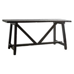 Exceptional Black Brown 18th Century Minimalistic Table