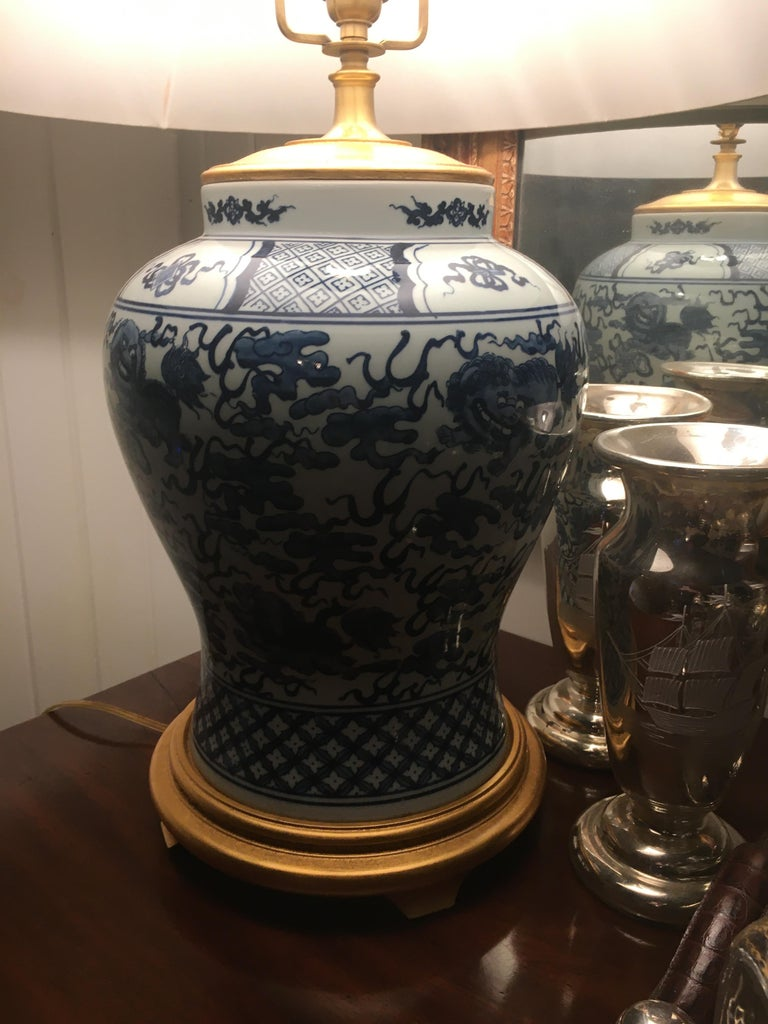 Exceptional Blue And White Vase On Giltwood Base Mounted
