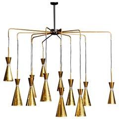 Exceptional Brass Chandelier by Studio Glustin