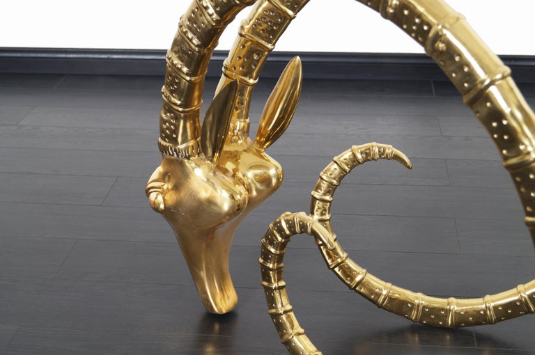 Exceptional Brass Ibex Rams Head Sculptures in the style of Alain Chervet For Sale 4