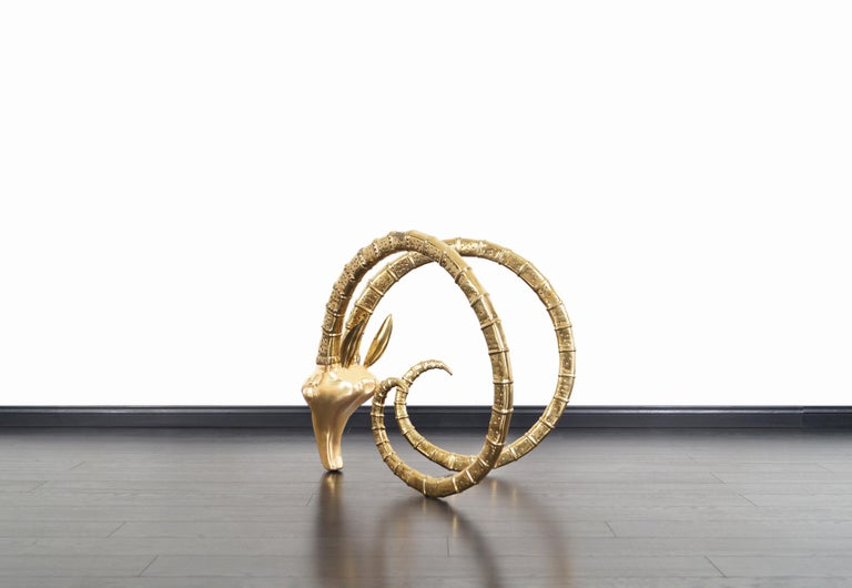 Exceptional Brass Ibex Rams Head Sculptures in the style of Alain Chervet For Sale 7