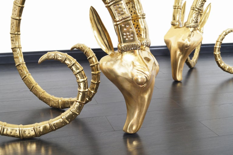 Mid-Century Modern Exceptional Brass Ibex Rams Head Sculptures in the style of Alain Chervet For Sale
