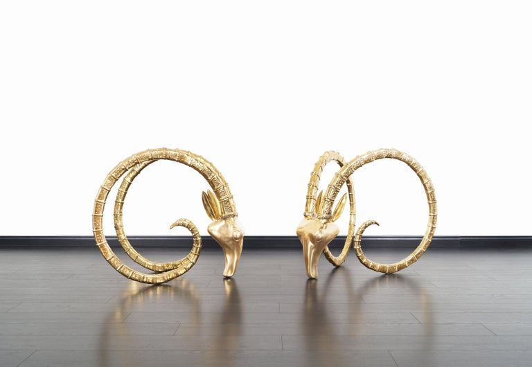 Unknown Exceptional Brass Ibex Rams Head Sculptures in the style of Alain Chervet For Sale