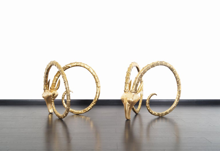 Late 20th Century Exceptional Brass Ibex Rams Head Sculptures in the style of Alain Chervet For Sale