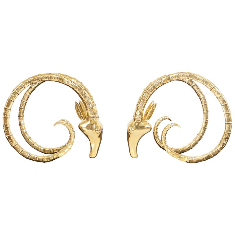 Exceptional Brass Ibex Rams Head Sculptures in the style of Alain Chervet For Sale