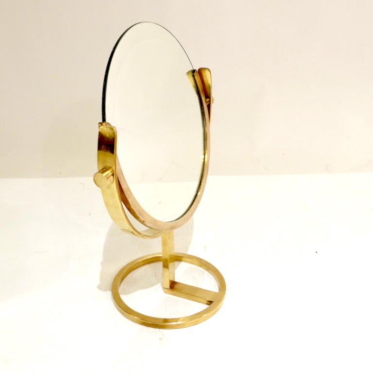 Mid-Century Modern Exceptional Brass Vanity Table Top Mirror by Charles Hollis Jones For Sale