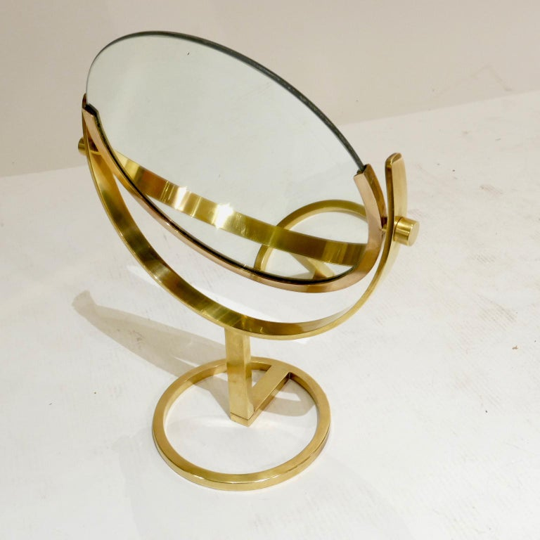 Unknown Exceptional Brass Vanity Table Top Mirror by Charles Hollis Jones For Sale