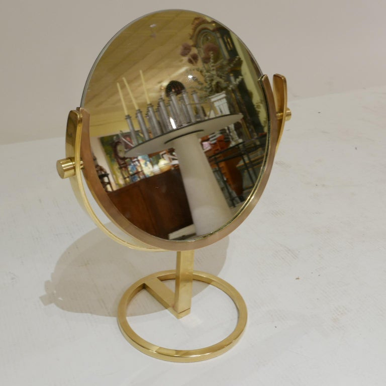 Exceptional Brass Vanity Table Top Mirror by Charles Hollis Jones In Good Condition For Sale In Hudson, NY