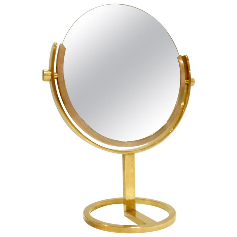 Exceptional Brass Vanity Table Top Mirror by Charles Hollis Jones For Sale