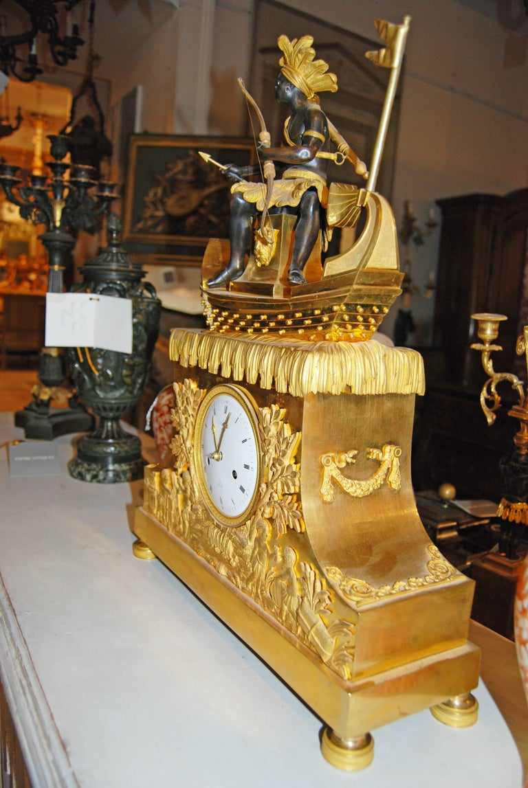 Empire Exceptional Bronze Bon Sauvage Clock For Sale