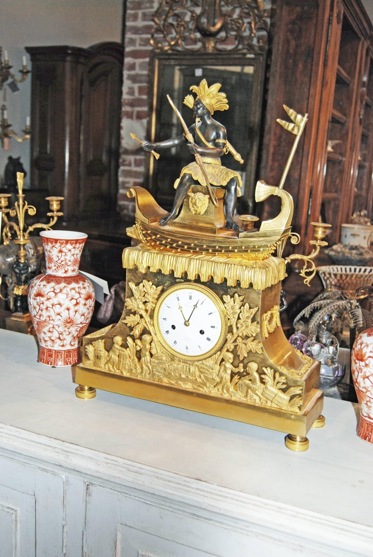 Exceptional Bronze Bon Sauvage Clock In Excellent Condition For Sale In New Orleans, LA