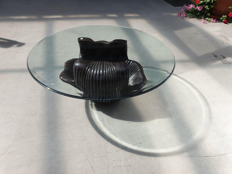 Hollywood Regency Exceptional Bronze Oyster Coffee Table For Sale