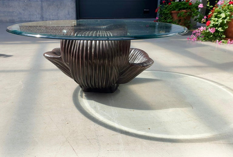 European Exceptional Bronze Oyster Coffee Table For Sale