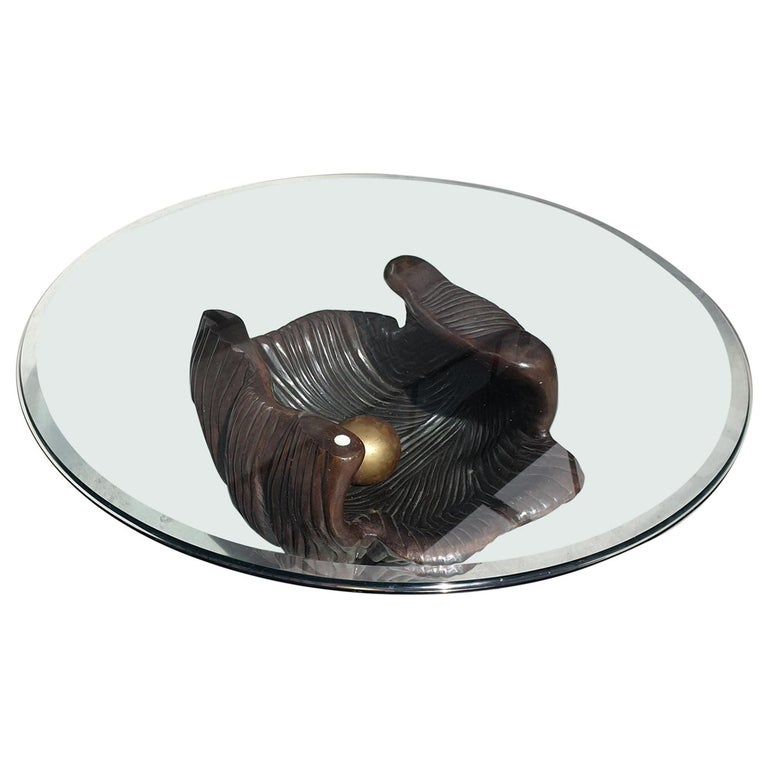 Exceptional Bronze Oyster Coffee Table For Sale
