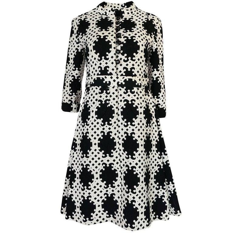 Exceptional c1966 Donald Brooks Graphic Black & White Dress