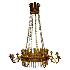 Exceptional Carved and Gilded Wooden Lamp from the Carlos IV Period 18th Century