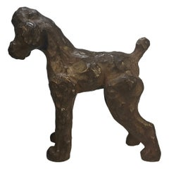 Exceptional Ceramic French Poodle Sculpture French Ceramicist Pol Chambost 1950s