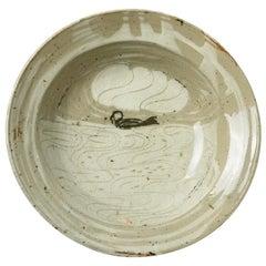 Exceptional Ceramic Plate by Anne Kjaersgaard Danish Artist Realised in La Borne